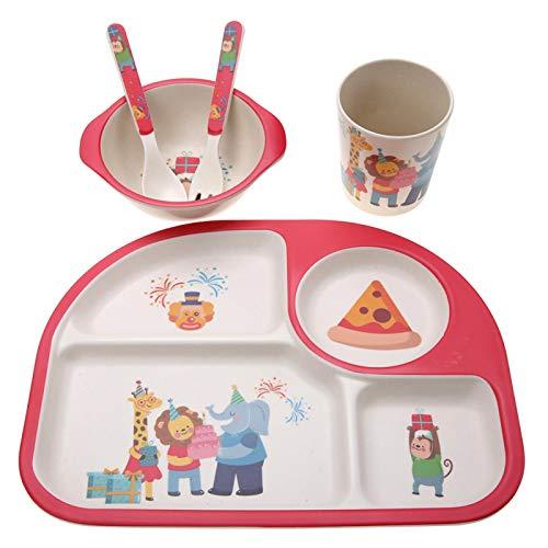 Vajilla no tóxica de 5 piezas/juego, fácil de limpiar, material de fibra de bambú, vajilla para niños, para niños(Monkey party)
