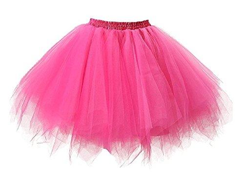Neón Tutu Falda Mujer Adultos 80s Neón Tutú Cortas Tul Enaguas Underskirt Burbuja Falda Crinolinas 1980s Neón Accesori Disfraz 50s Disco Ballet Danza Skirt Vestido Baile Vestimenta (Pink)