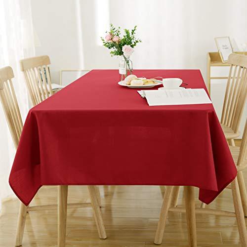 Deconovo Manteles de Mesa Rectangular Efecto Lino 140 x 200 cm Rojo