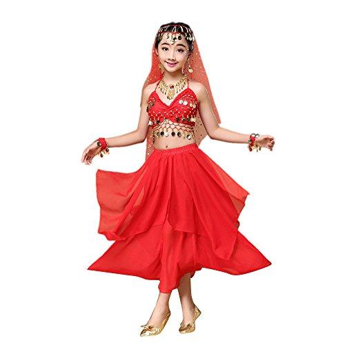 Lazzboy Rock Kindermädchen Bauchtanz Outfit Kostüm Indien Tanzkleidung Top + Rock(S,Rot)