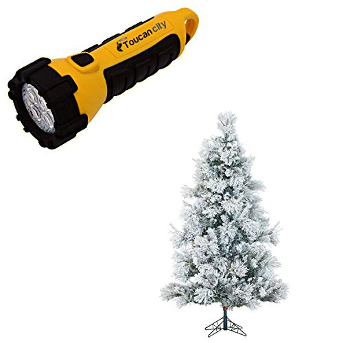 Toucan City LED Flashlight and Fraser Hill Farm 6.5 ft. Pre-lit Flocked Snowy Pine Artificial Christmas Tree with 450 Smart String Lights FFSN065-3SN