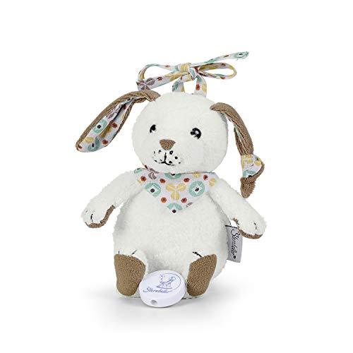 Sterntaler Spieluhr, Stofftier Hase Hoppel, Integriertes Spielwerk, Größe: S, Weiß