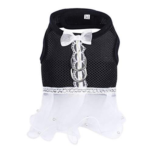 ETbotu zomerjurk voor huisdieren ademende jurk met gesp aan de lijn voor honden buiten zwart S