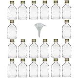 Viva-artículos de Uso doméstico - 20 Mini frascos de Vidrio 20 ml con tapón de Rosca para llenar Incluye Embudo diámetro 5 cm