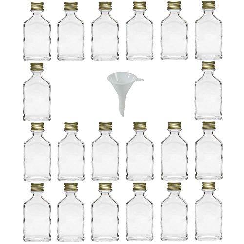 Viva Haushaltswaren #31056# 20 x Mini Glasflasche 20 ml mit Schraubverschluss, als Flachmann, Schnapsflasche & Likörflasche geeignet (inkl. Trichter Ø 5 cm)