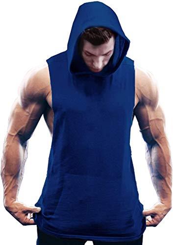 Coofandy, canotta da uomo con cappuccio, senza maniche, per bodybuilding, palestra, con tasca Blu XXL
