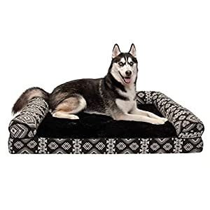 Furhaven Pet Dog Bed – Orthopedic Plush Kilim Southwest Home Decor Traditional Sofa-Style Living Room Couch Pet Bed with Removable Cover for Dogs and Cats, Black Medallion, Jumbo