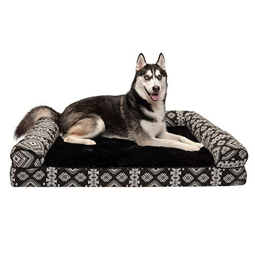 Furhaven Pet Dog Bed - Orthopedic Plush Kilim Southwest Home Decor Traditional Sofa-Style Living Room Couch Pet Bed with Removable Cover for Dogs and Cats, Black Medallion, Jumbo