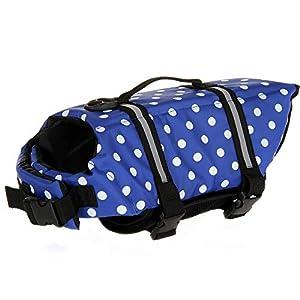 Mummumi Dog Life Jacket, Adjustable Dog Swim Vest with Handle Pet Puppy Saver Swimming Lifejackets Vest Coat
