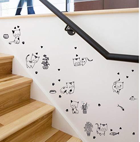 NoBrand Bande dessinée Mignon Chat Kitty Vie Vinyle Stickers Muraux pour Chambres d'enfants DIY Décor À La Maison Mural Decal Animal Autocollants