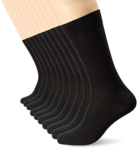 FM London Herren Smart Klassische Socken, Schwarz (Black), 39-45 (10er Pack)