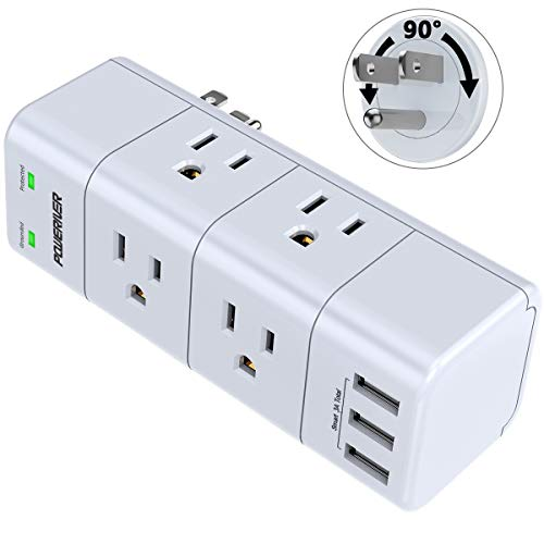 Surge Protector, Outlet Expanders with Rotating Plug, POWERIVER Power Strip with 6 Outlet Extender (3 Side) and 3 USB Ports, 1680 Joules, for Home/School/Office/Travel, White