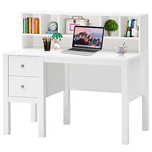 Tangkula White Computer Desk with Storage Drawers & Bookshelves, Modern Home Office Desk Writing Study Desk with Hutch, Laptop Desk w/Storage Compartments, Computer Workstation Makeup Vanity Desk