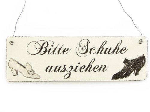 Interluxe Vintage Deko Schild Türschild Bitte Schuhe AUSZIEHEN Shabby Nostalgie Landhaus Holz weiß