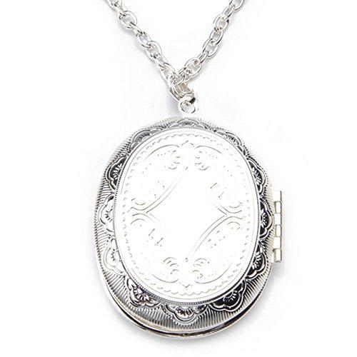 Gleader Collar Colgante Oval Medallon Relicario Poner Fotos Banado Plata