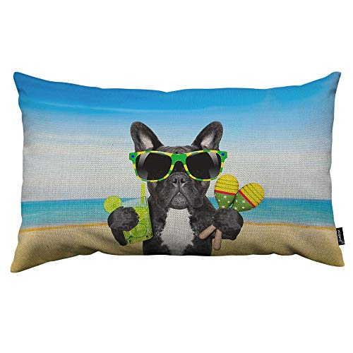 HOSNYE Cool Dog Throw Pillow Cover Brazil French Bulldog Dog Enjoying A Cocktail at The Beach On Summer Linen Fabric for Couch Bed Sofa Car Waist Cushion Cover 12 x 20 inch Pillow Case