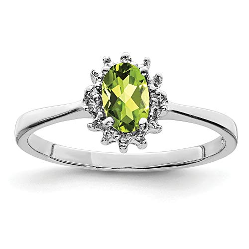925 Sterling Silver Green Peridot Diamond Band Ring Size 7.00 Stone Gemstone Fine Jewellery For Women Gifts For Her