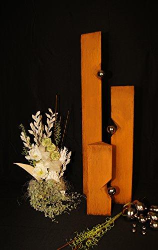 JH-Metalldesign Säulenset Edelrost Kugel Säulen Set Rost mit Edelstahl - Kugeln Rost Garten Dekoration Stele
