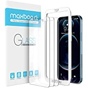 Maxboost Screen Protector Designed for iPhone 12 Screen Protector, iPhone 12 Pro Screen Protector -3 Pack, Tempered Glass Film compatible with iPhone 12 pro/12 6.1-inch (w/Alignment Tool included)