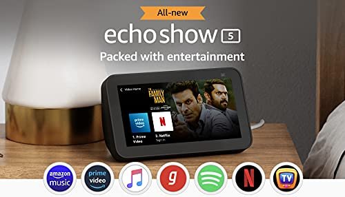 """All new Echo Show 5 (2nd Gen, 2021 release) - Smart speaker with Alexa - 5.5"""" screen, crisp sound and 2MP camera (Black)"""