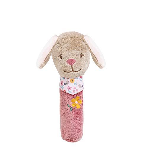 Nattou Hochet Stick Chien Lali avec Couinements, Iris et Lali, 16 x 10 x 7 cm, Beige/Rose