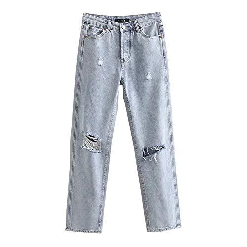 Pantalones Vaqueros de Mujer Streetwear Frayed Distressed Relaxed Fit Pantalones de Pierna Recta Pantalones...