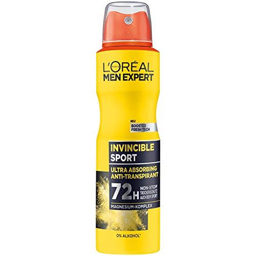 L'Oréal Men Expert Invincible Sport Männer Deo Spray, 6er Vorratspack, langanhaltender Trockenschutz, ohne Alkohol, männlich-holziger Duft (6 x 150 ml)