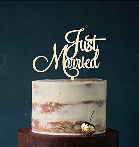 Manschin-Laserdesign Cake Topper, Tortenstecker, Tortefigur Acryl, Tortenständer - Farbwahl - Etagere Hochzeit Hochzeitstorte Just Married (Elfenbein) Art.Nr. 5115