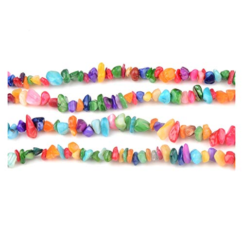 JINAN Cuentas de piedra natural de 5 a 8 mm con forma irregular de grava para hacer collares y pulseras (color: colorido)