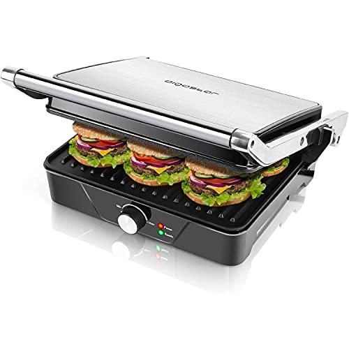 Aigostar Samson - Griglia multifunzione per panini maker da 2000W con 2 piani di cottura 29.5 * 23.5cm. Temperatura regolabile fino a 180° e vassoio raccogli briciole estraibile. Color argento