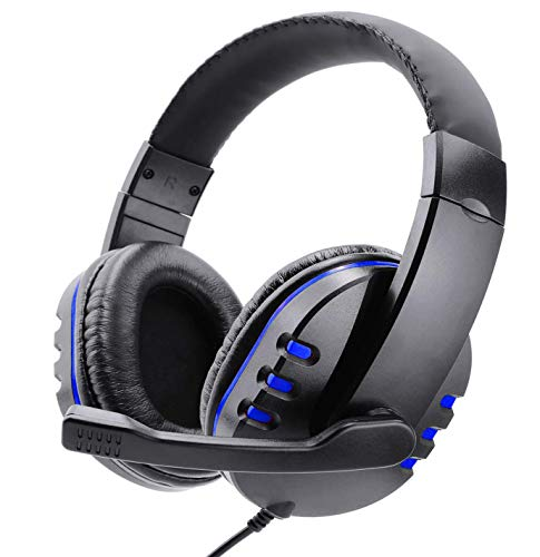 Poulep Gaming Headset Headphone for PS4, Playstation 4, NS Switch, Playstation Vita, Mac, Laptop, Tablet, Computer, Mobile Phones with Microphone (3.5mm Plug,Blue)
