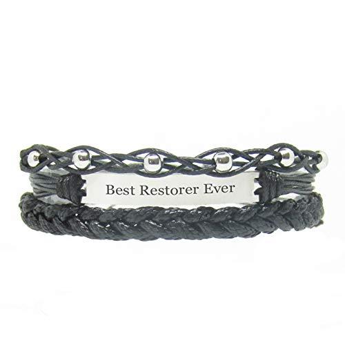 Miiras Job Engraved Handmade Bracelet - Best Restorer Ever - Black 1 - Made of Braided Rope and Stainless Steel - Gift for Restorer