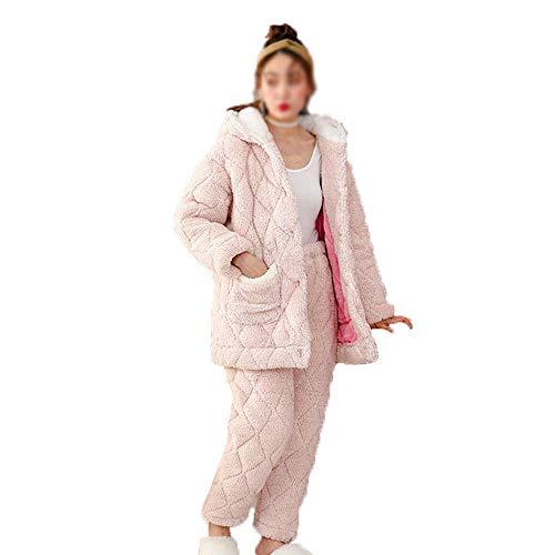 SHXITAYNB Pijamas Acolchados De Algodón para Damas,Ropa De Dormir De Franela,Conjunto De Ropa De Dormir De Pantalones De Manga Larga,para El Hogar,Al Aire Libre En Invierno,XL