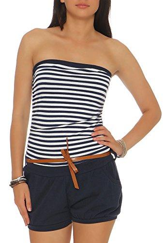 malito dames onesie onesie gestreept | korte Overall met riem | Jumpsuit in marine look | Playsuit - Romper 9630