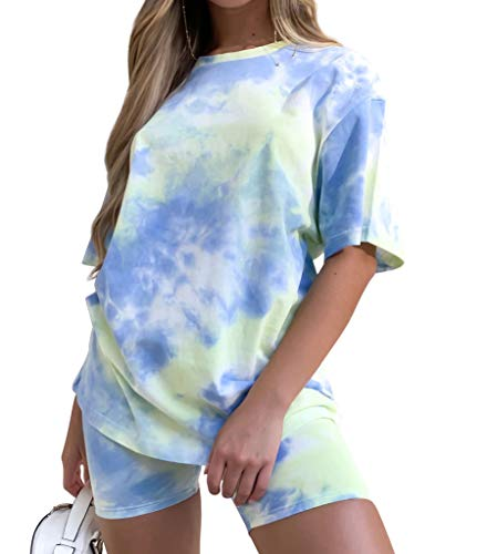 Two-Piece Shorts Set for Women Casual - Summer Tops Tie Dye Shirts Short Shorts for Women 2 Piece Outfit Blue
