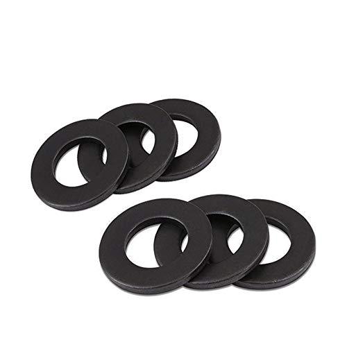 XFentech Arandela Planas Acero al Carbono - M3 M4 M5 M6 M8 M10 Metal Redonda Metal Tornillos Reparación, Negro, M3*7 * 0.5(100 Piezas)