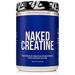 Pure Creatine Monohydrate – 200 Servings – 1,000 Grams, 2.2lb Bulk, Vegan, Non-GMO, Gluten Free, Soy Free. Aid Strength Gains, No Artificial Ingredients – NAKED CREATINE