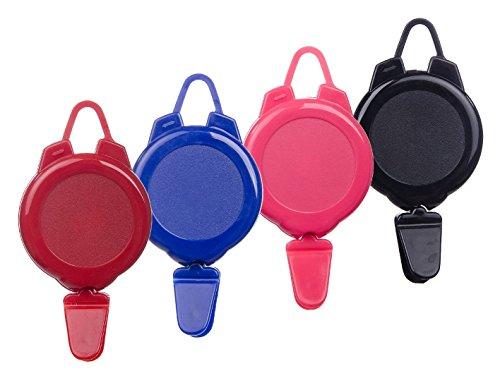 Karteo® Skipassjojo pink | Ausweisjojo Skipasshalter rund | Jojo für Skipässe | Befestigungsmöglichkeit mit Verschlusshaken für Kleidung oben | Druckknopf Plastiklasche für Skipässe unten