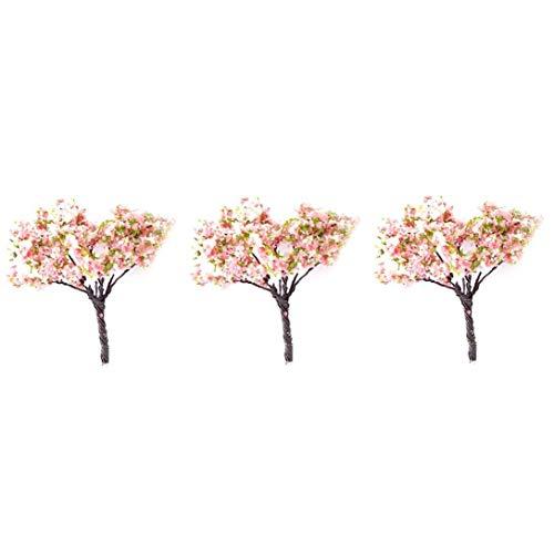 Modèle Arbres Mini Paysage Architecture de paysage Arbres miniature fée Jardin Arbre Plante Bricolage Artisanat Jardin Ornement 3Pcs (fleurs de cerisier)