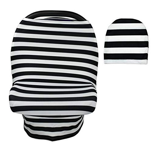 Puseky Stillen Cover Kinderwagen Cover tragbare Mehrzweck Warenkorb Pad Autositzbezug (Color : Black+White Stripe, Size : One Size)