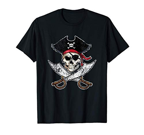 Camisa pirata esqueleto espadas y calavera apenada Camiseta