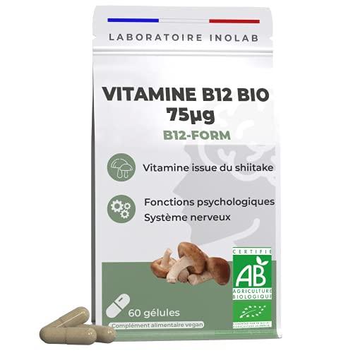 Vitamine B12 BIO & Végétale   75µg de B12 active par gélule   3 formes de B12 d'origine naturelle dont Methylcobalamine & Adénosylcobalamine   fibres bio d'acacia   60 gélules