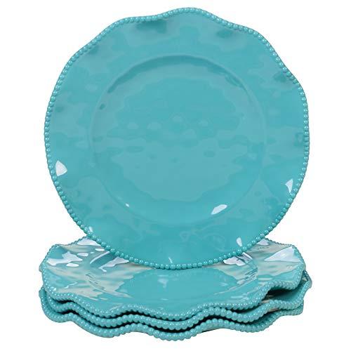 """11"""" 4pk Melamine Perlette Dinner Plates Teal - Certified International"""