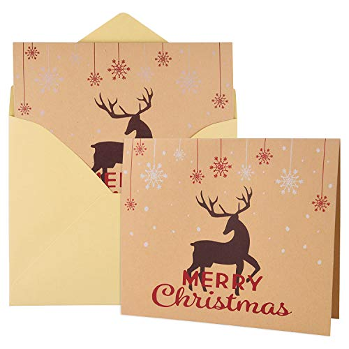 FEPITO 36 pezzi Buon Natale Biglietti d'auguri Natale Vacanza Carte con buste e adesivi, 4,72 x 3,94 pollici