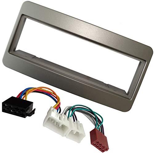 AERZETIX - Kit di montaggio per autoradio standard 1DIN - Mascherina telaio, cavo di collegamento e adattatori per antenna - Grigio - C40939A