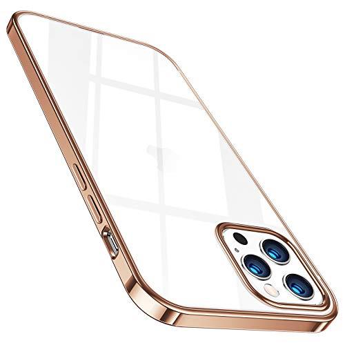TORRAS Crystal Clear Hülle Kompatibel mit iPhone 12 Pro Max Dünn Vergilbungsfrei Durchsichtig Handyhülle Hülle Flexibles Silikon Slim Schutzhülle Gold