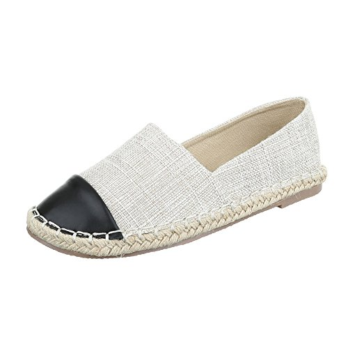 Ital Design Slipper Damen-Schuhe Low-Top Blockabsatz Moderne Halbschuhe Beige, Gr 38, Cc8586-