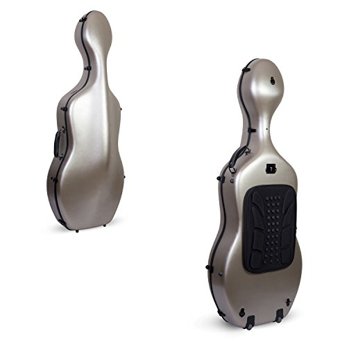 Crossrock Poly Carbon Composite Cello Case, for 4/4 Size Cello with backpack and wheels in Champagne(CRF1000CEFCHHT)