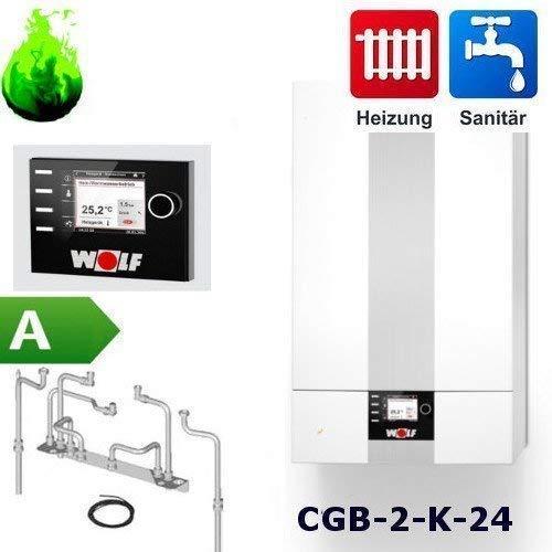 Gas-Brennwert-Kombitherme Wolf Paket CGB-2-K-24 mit Regelung BM2, 24kW