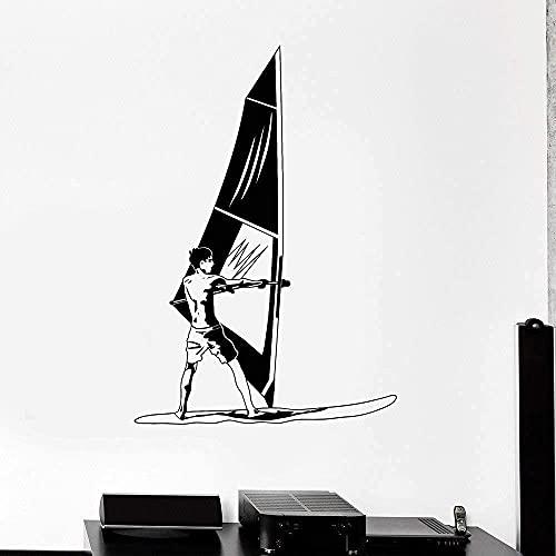 Vinilo de pared de vinilo Vinilo Vinilo de pared Windsurfing Windsurf Deportes Sports Ventana Etiqueta Mural Papel Pintado 84x57cm